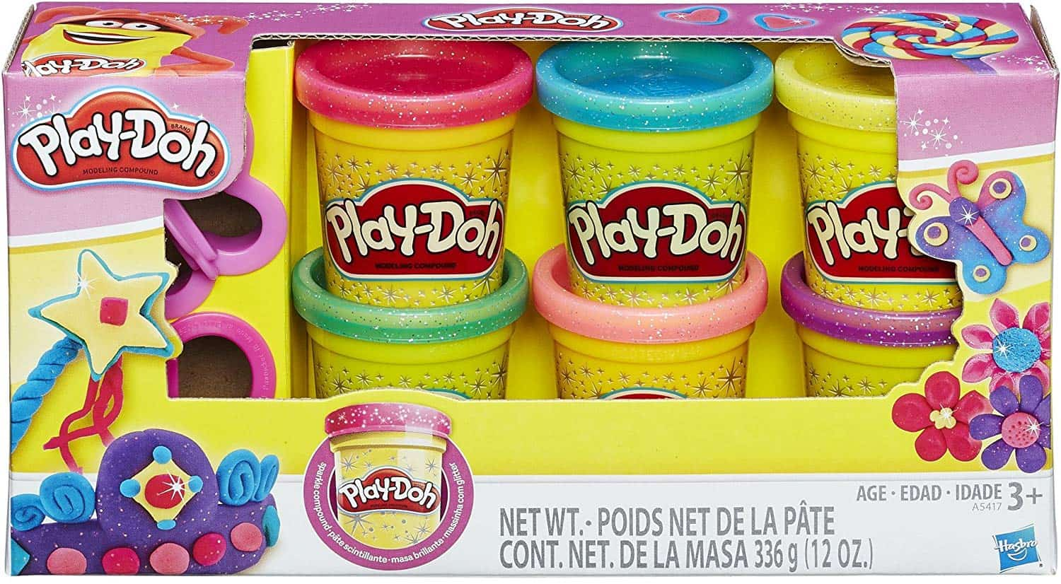 A variety of Play-Doh colors.