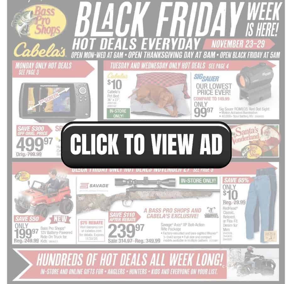 Black Friday hot deals everyday from Bass Pro Shops and Cabela's on sale.