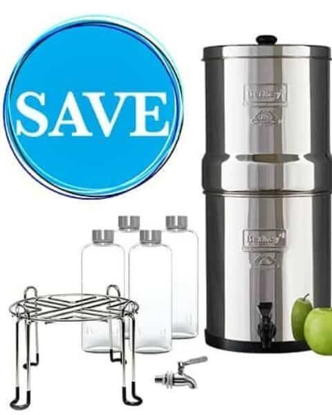 Berkey Water Filter, stand and water bottles