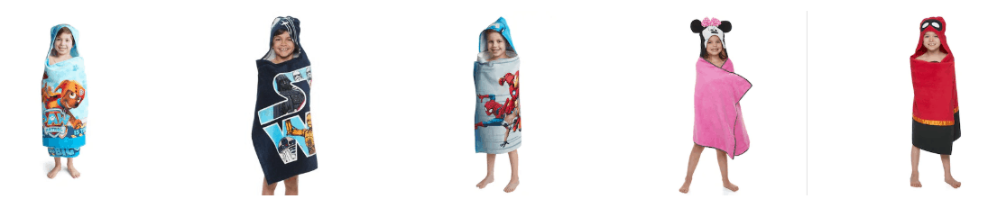 Little boy in a Marvel hooded bath towel on sale.