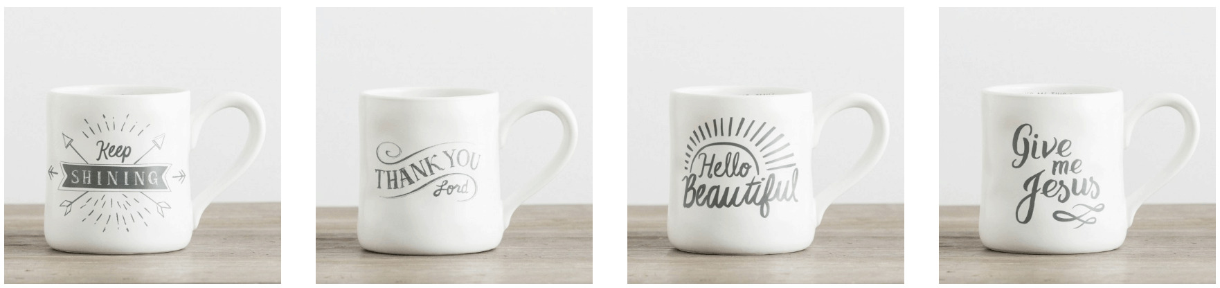 "A close up of a coffee mug that says ""Hello Beautiful\"" cyber monday deal."