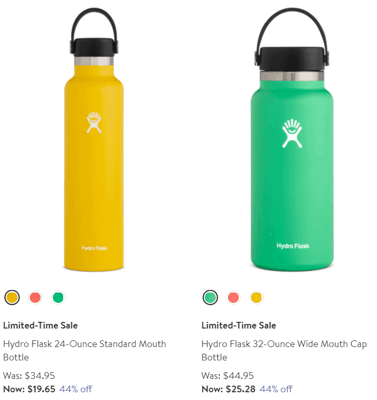 Flask water bottles of different sizes on sale.