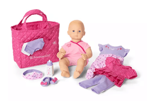 American baby girl doll and accessories.