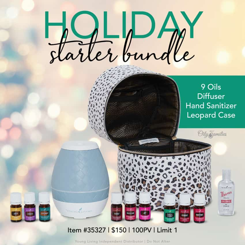 Holiday starter bundle from Young Living Essential oils, including 9 oils, diffuser, hand sanitizer, and a leopard case.