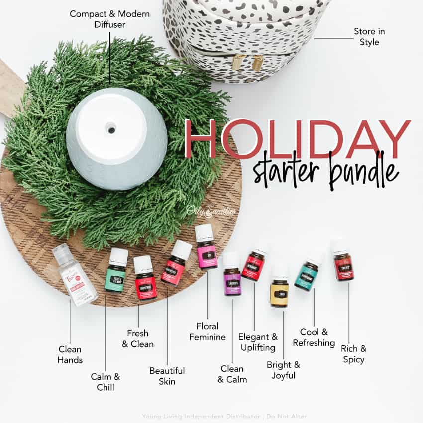 Young Living essential oils on holiday wreath for the starter bundle.