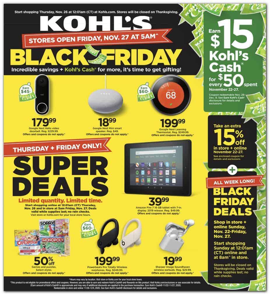 Kohl's black friday super deals ad.