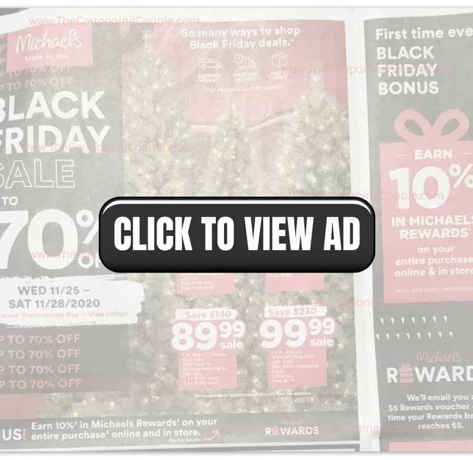 Michael's Black Friday Sale with a click to view ad overlay.