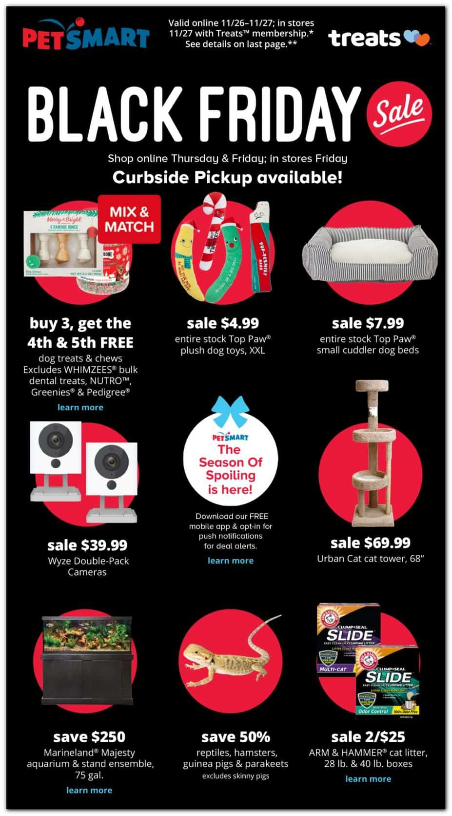 Pet Smart Black Friday ad sale with curbside pickup available.