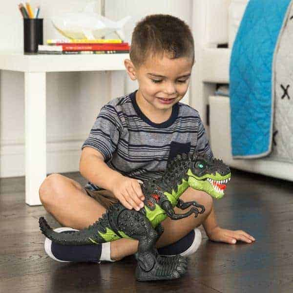 Little boy playing with walking t-rex dinosaur.