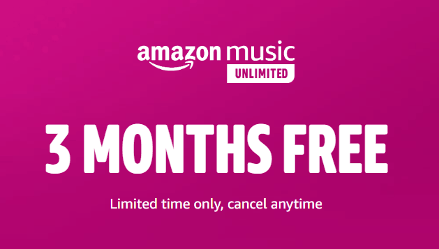 A close up of a sign that shares the Amazon Music deal of unlimited music for free for 90 days.