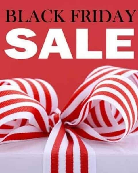 the words Black Friday Sale along a red background with a wrapped gift