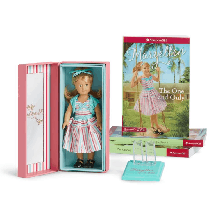 American girl mini doll sets with doll and book.