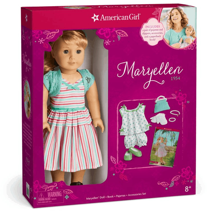 Maryellen American Girl doll with matching clothes.