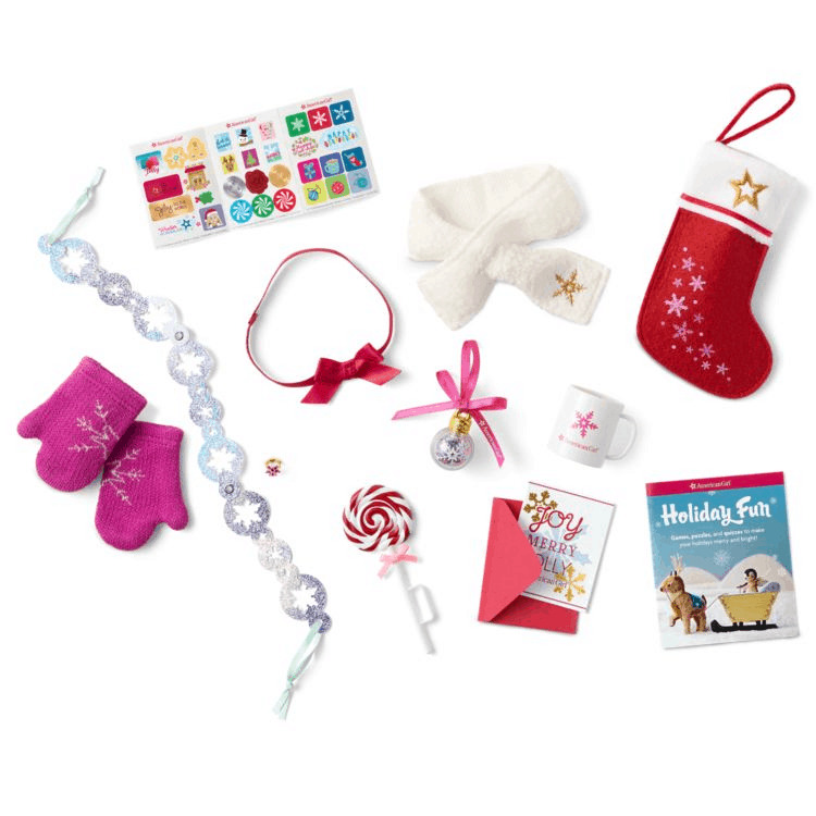 A variety of American Girl Christmas items for the dolls.