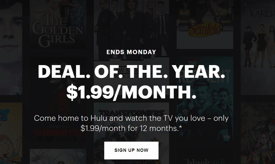 Hulu Black Friday sale.
