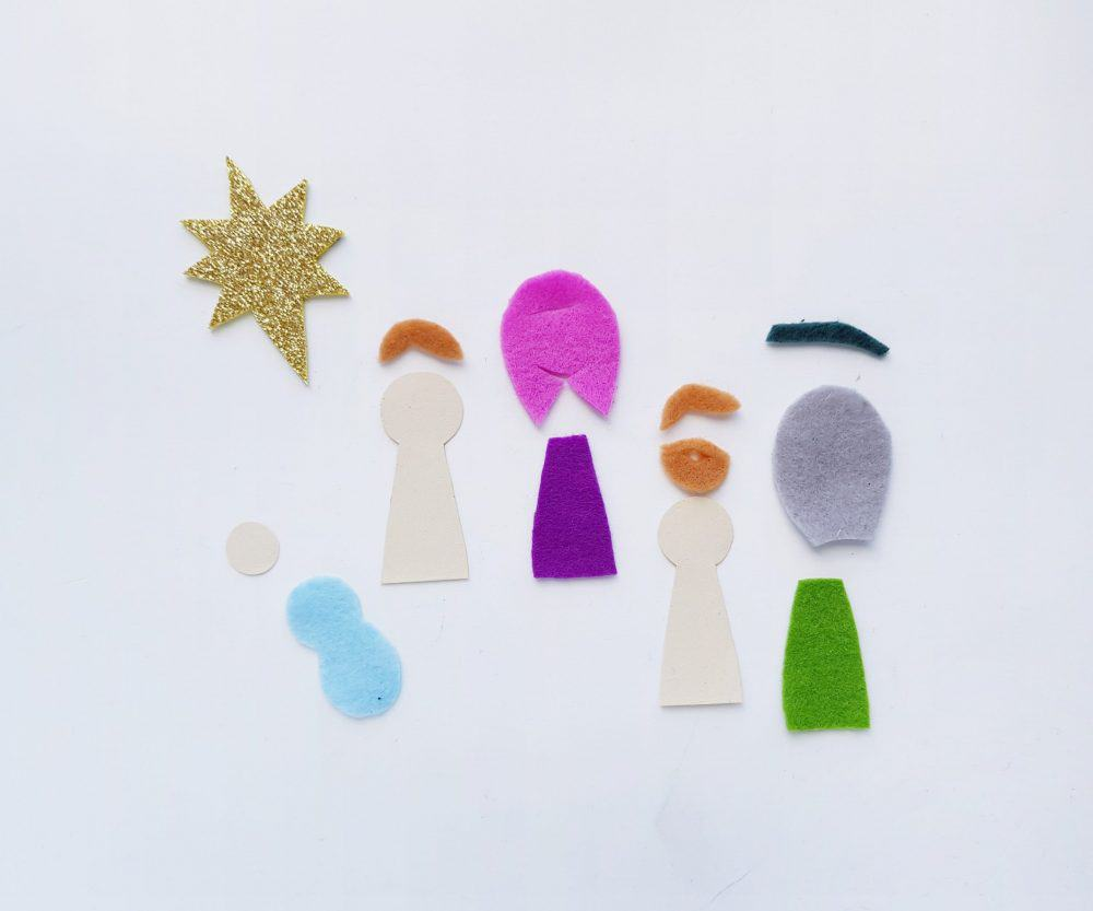 Cut felt craft for nativity.