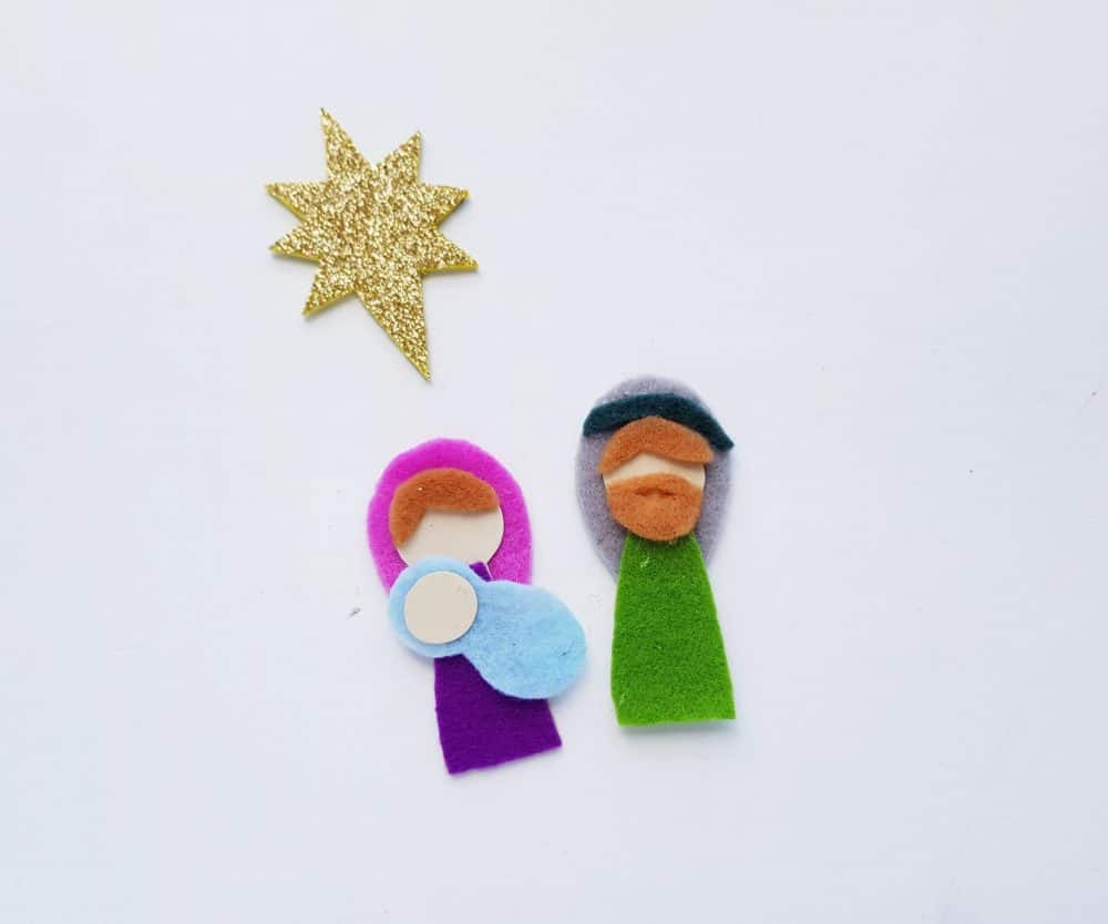 Mary, Joseph, baby Jesus, and the Christmas star from felt.