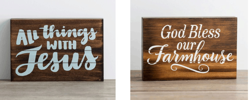 Farmhouse signs.
