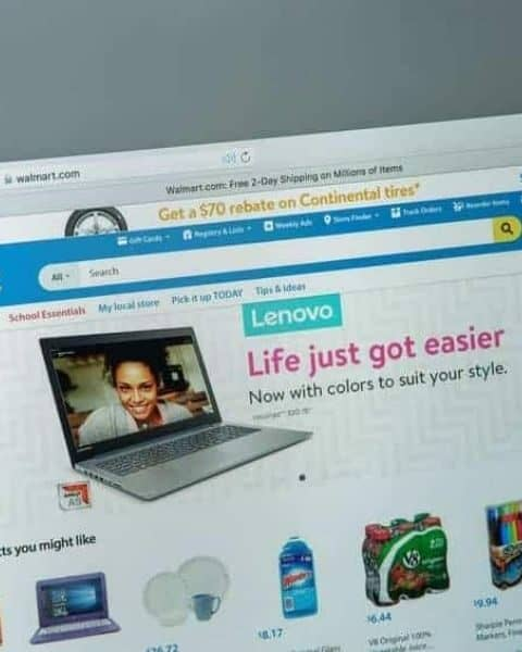 laptop with the Walmart website on it