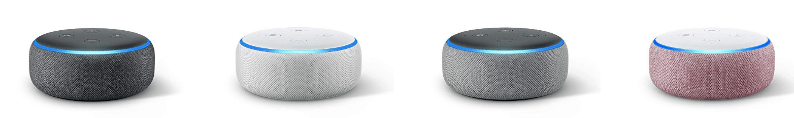A variety of Amazon Echo dots available during the sale.