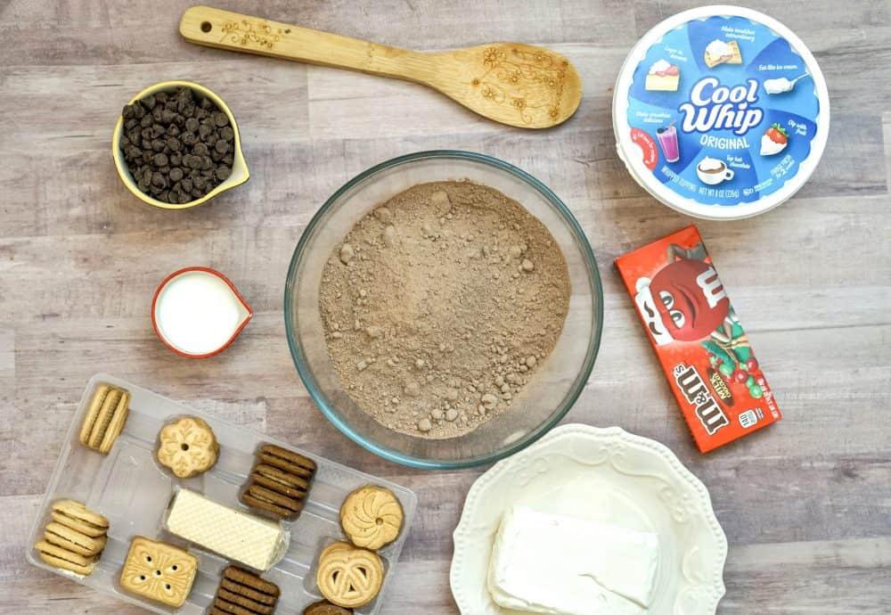 Edible Brownie Batter Dessert Dip Recipe ingredients.