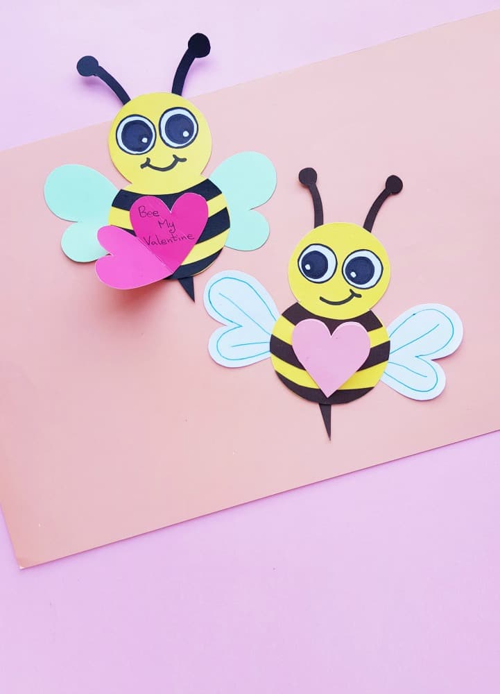 cute valentine's day diy paper bee craft card with hearts