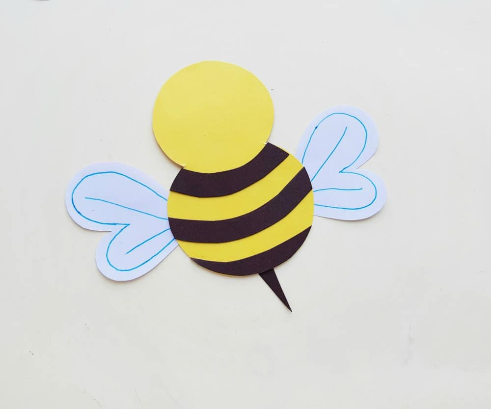 paper craft bee body, wings and stinger