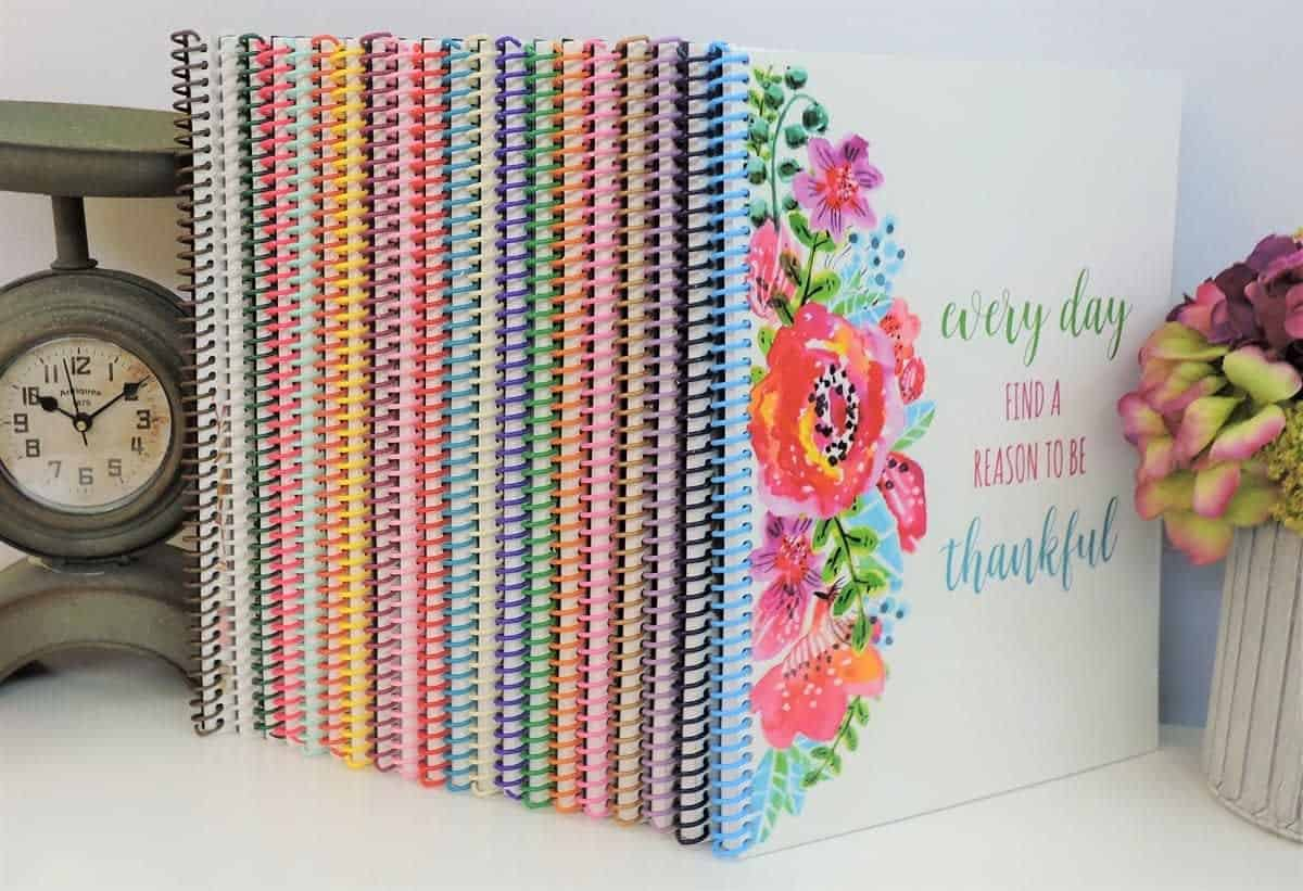 Different colors, floral prints, and designs for the personalized Bible journals.
