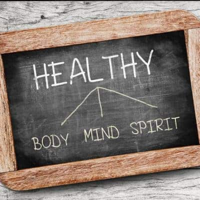 Healthy concept. Body, Mind, and Spirit drawing on blackboard