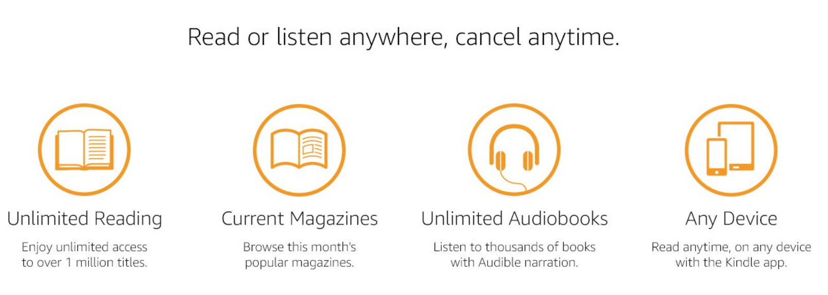 Kindle Unlimited deal with unlimited magazines and audiobooks.