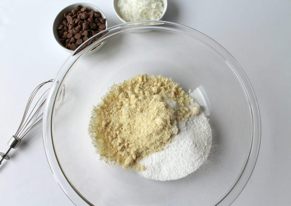 keto samoas, dry ingredients.