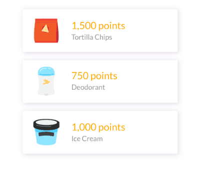 How many points items are worth in the Fetch Rewards app.