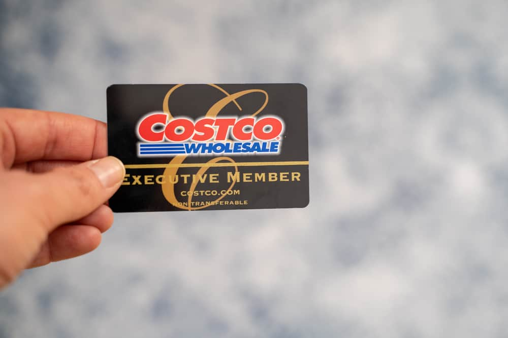 Hand holding a Costco Wholesale Executive Membership card, isolated.