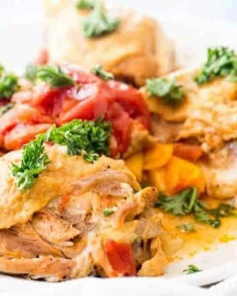 chicken cacciatore on a plate