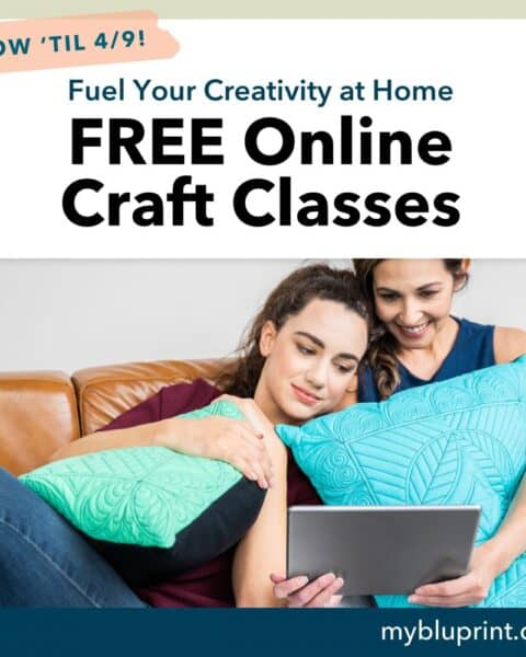 A woman sitting on a couch with a laptop and smiling at the camera as they take free Bluprint creativity classes.