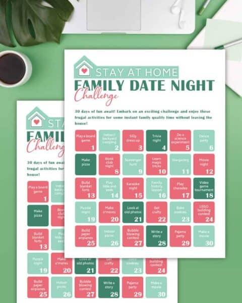 family date night challenge printable on a table with a laptop