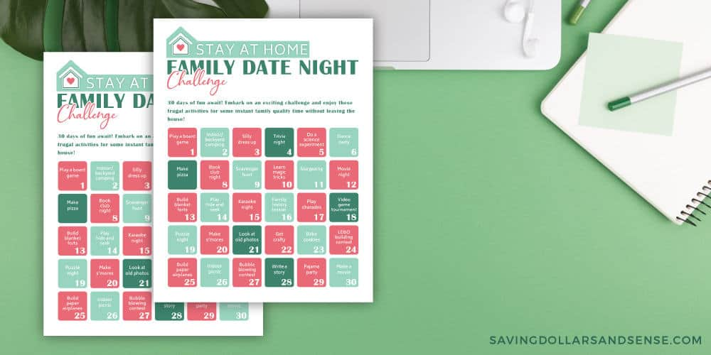 Free printable family date night challenge with 30 ideas.