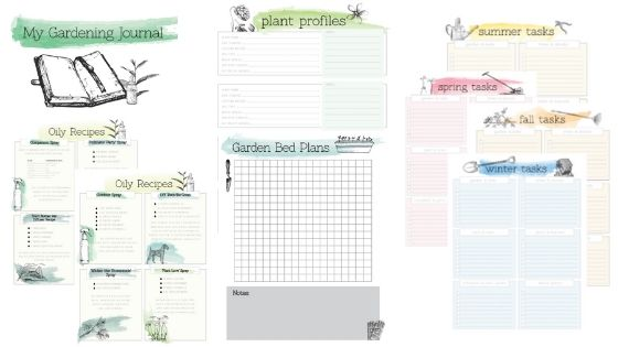 Free gardening printable journal