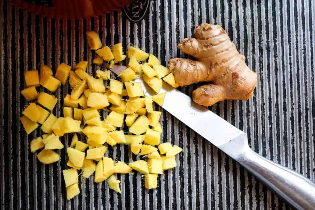 Cubed ginger.