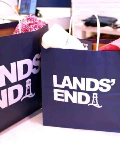 two Lands' End Shopping bags full of clothes