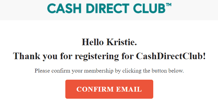 Cash Direct Club logo and confirmation from signing up.