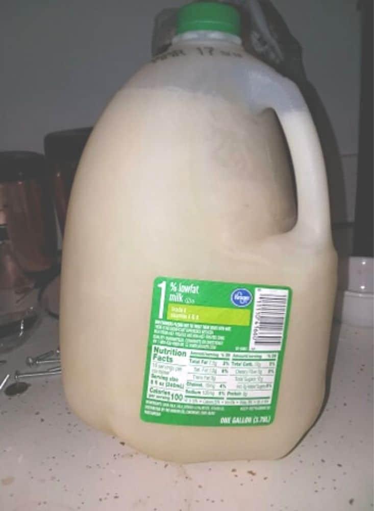 frozen gallon of milk
