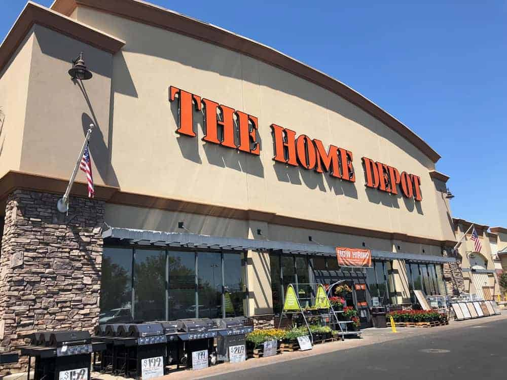 The Home Depot building with a giveaway.