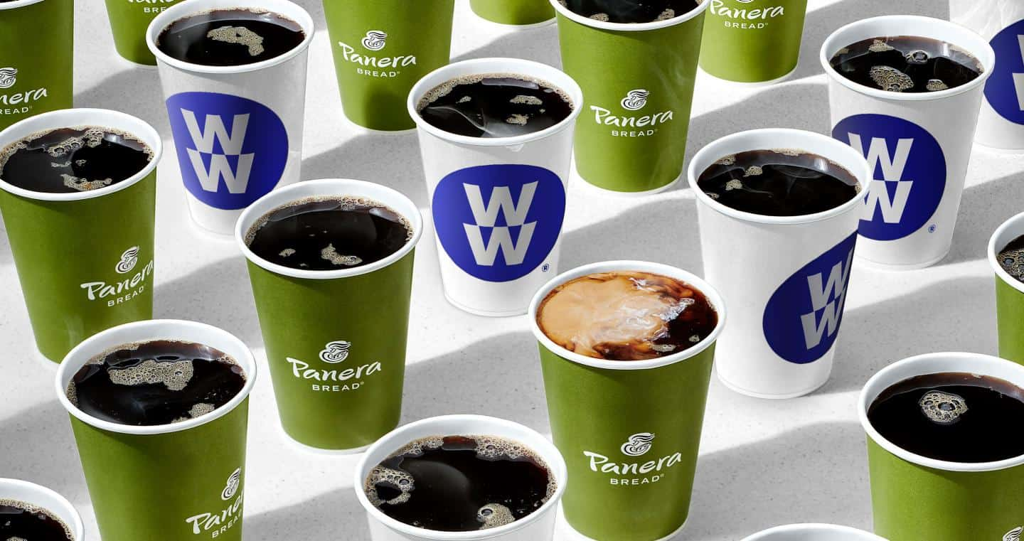 A cup of coffee, with MyPanera and Panera Bread