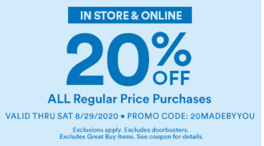 20% off coupon in store and online for Michaels Craft Department