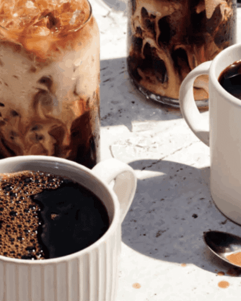 A cup of coffee, with Bread