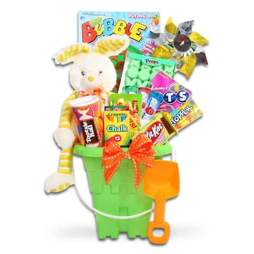 Easter basket with bunny, candy, toys, and other trinkets from Kohl\'s spring sale.