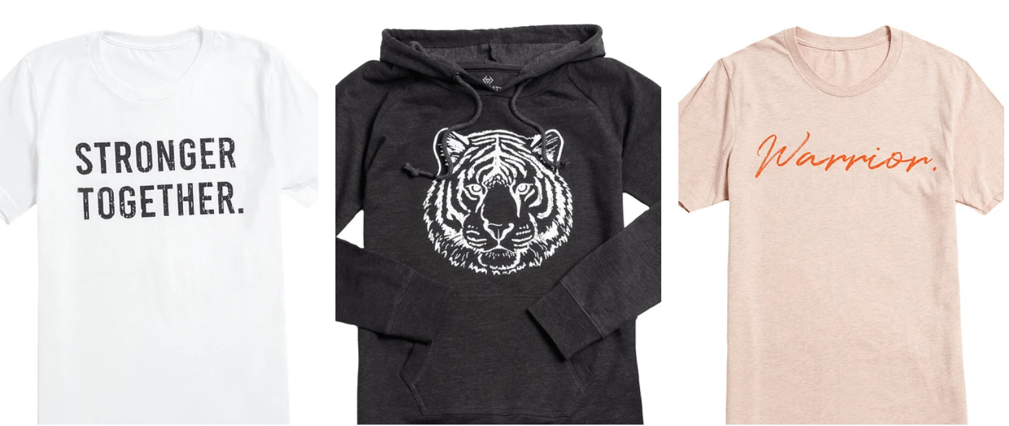 Black hooded sweater with a white imprinted tiger on the front.