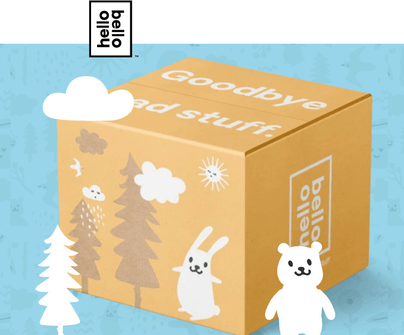 A cute box of bears, bunnies, and trees from Hello Bello subscription box.