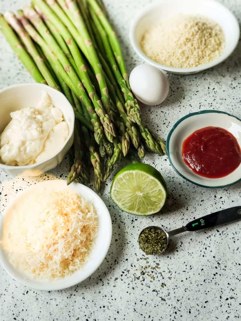 Panko Asparagus with Chipotle Lime Aoli ingredients.